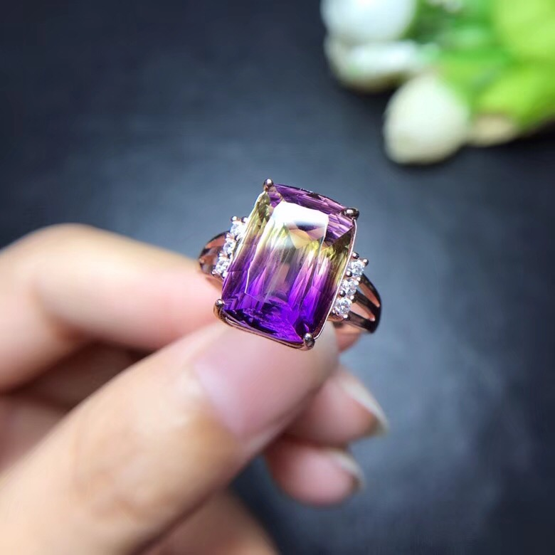 Uloveido Women Super Big Beautiful Ring Natural Amethyst Lady Ring 925 Sterling Silver Wedding Engagement Jewellery