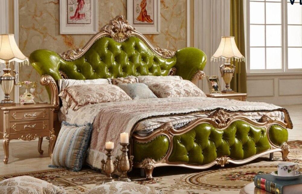 Роскошные оливково-зеленый кожаный резьба по дереву мягкая кровать шикарный мастер номер Двухместный King Размеры королевская кровать best Сп... ...