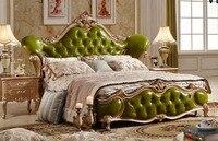 Роскошные оливково зеленый кожаный резьба по дереву мягкая кровать шикарный мастер номер Двухместный King Размеры королевская кровать best Сп