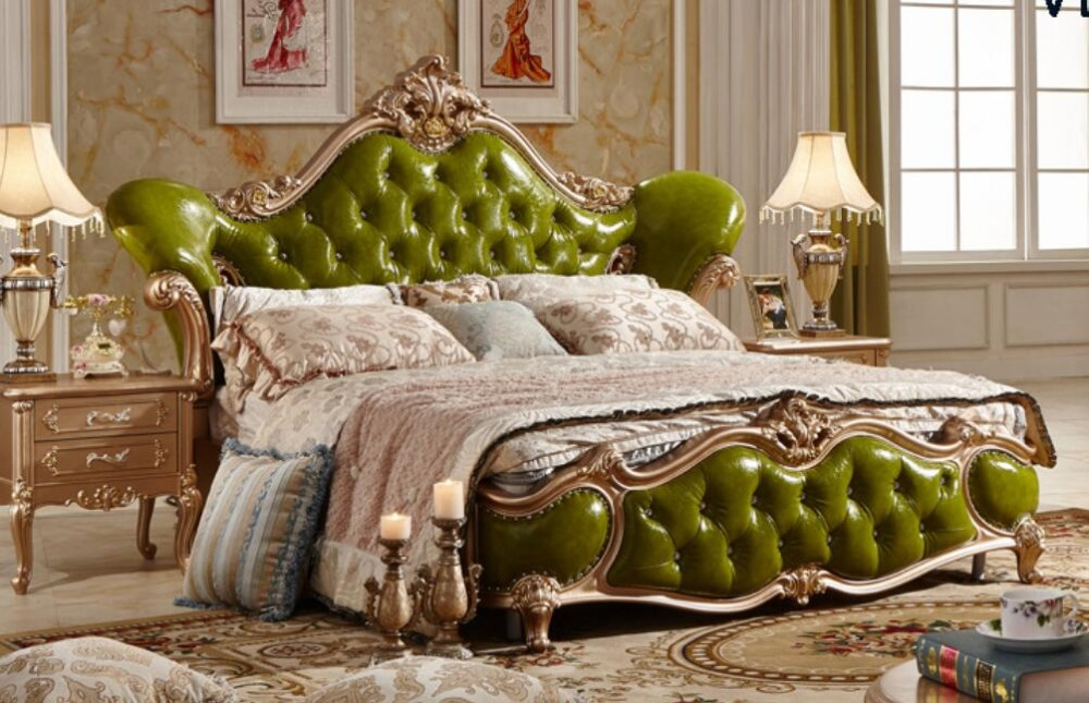 Luxury Olive Green Leather Wood Carving Soft Bed Gorgeous Master Room Double King Size Royal Bed Best Bedroom Furniture MB 908B