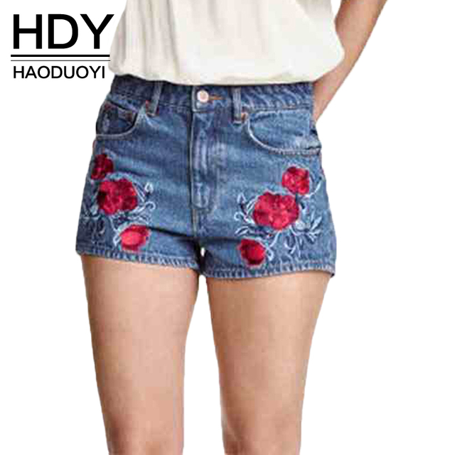 HDY Haoduoyi Blue Distressed Color Block Short Jeans Flower Embroidery Pockets Denim Short Pants Casual Slim Shorts