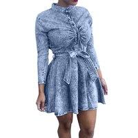 Promotion 2016 Spring Women Dress Pleated Long Sleeve Mini Jeans Denim Dress Stand Collar Woman Dresses