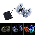 50LED/lot 7m/22.9ft  Solar Powered Flower Fairy String Light Christmas Party Home Garden Decor Warm White
