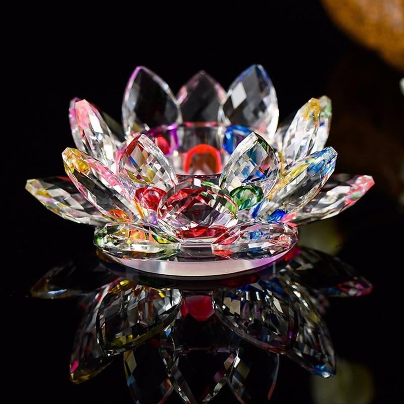 11,5 cm Bunten Kristall Lotus Kerzenhalter Miniatur Romantische Blume Kerzenhalter Bunte Glas Ornamente Dekoration