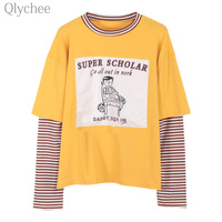 Qlychee Women Preppy Style Stripe T Shirt Cartoon Letter Print Patchwork Fake Two Pieces T Shirt