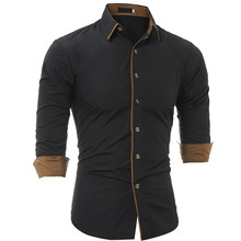 483aaa3245 Hombres camisa 2018 moda hombres de la marca de manga larga de color sólido  de manga larga Hombre camisa masculina casual Slim c.