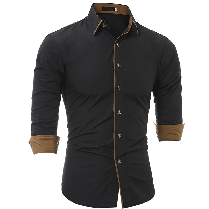 Men Shirt 2018 Fashion Brand MenS Cuff Solid color Long-Sleeved Shirt Male Camisa Masculina Casual Slim Chemise Homme XXXL JDEH ...