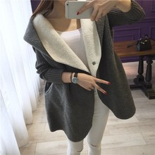 Womens Clothing Female Sweaters Coats Winter Wool Jacket Womens Velvet Thicken Long Coat Fashion Big Hooded Parkas  Top