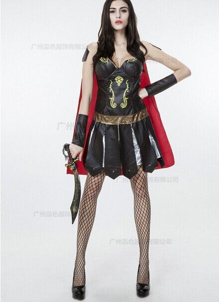 Ladies Roman Greek Xena Gladiator Warrior Princess Spartan Costume women sexy party cosplay halloween set dress+cloak+sleeve