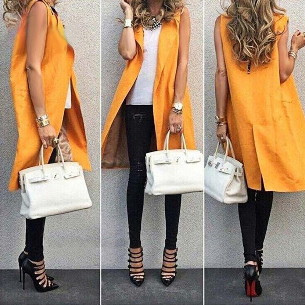 Kenancy naranja moda Chaleco de mujer sin mangas cuello solapa bolsillo  abierto puntada invierno Casual Plus tamaño largo chaleco en Chalecos y  Chalecos de ... 3f008ea4df67