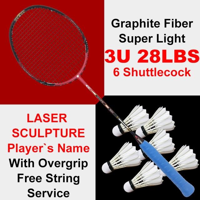 e654a3b52ab Professional Graphite Fiber Badminton Racket 3U Super Foerce Woven Frame  With String High Tension Racquet 6