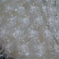 2017 France's best selling white 3D applique and pearl, African luxury embroidery lace, Nigeria craft high grade wedding fabric