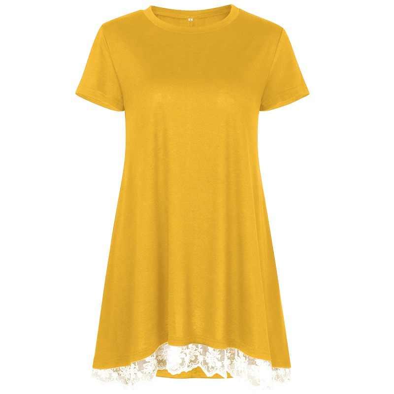 Женская повседневная туника, летняя свободная блузка с коротким рукавом, удлинённый топ с кружевной оборкой, 2018
