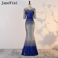 JaneVini Gradient Sequined Long Mother of the Bride Dresses V Neck Half Sleeves Sexy Mermaid Evening Party Gowns Floor Length
