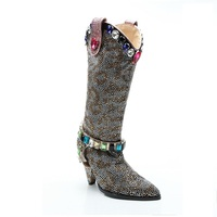 JELLYFOND Gothic Boots for Women Bling Rhinestone Knee Boots Punk Cowgirl Boots Luxury Crystal Spike High Heel Dress Shoes Woman