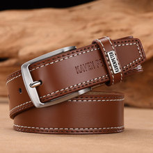 Men's Leather High Quality Classic Belt Alloy Pin Buckle Men's Matching Jeans Business Cowhide Belt Black Color Dark Brown Color