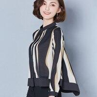 2017 Vintage Donne coreane Camicette Del Collare Del Basamento A Righe Stampa Chiffon Camicia camicette ufficio Lavoro plus size abbigliamento donna tops