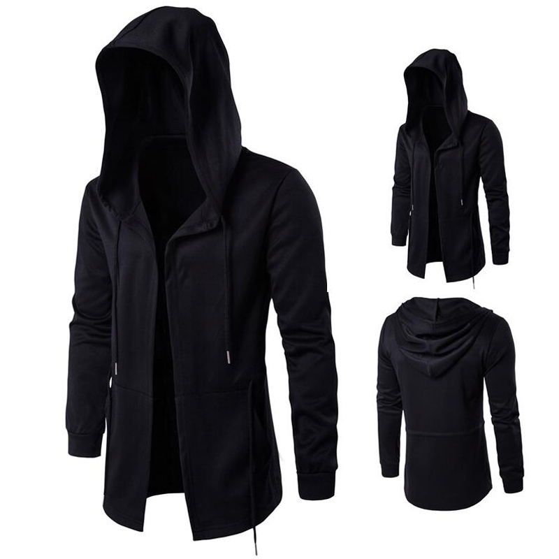 Long Design Hoodies Men Fashion Hip Hop Sweatshirt Streetwear Black Gown Coats Men Hooded Cloak Mantle Hoodie 5XL Sweatshirts