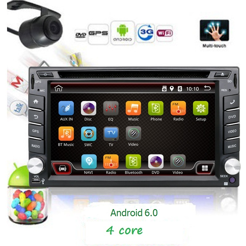 2 Din Pure Android 6.0 Car DVD GPS Navigation Stereo Radio ...