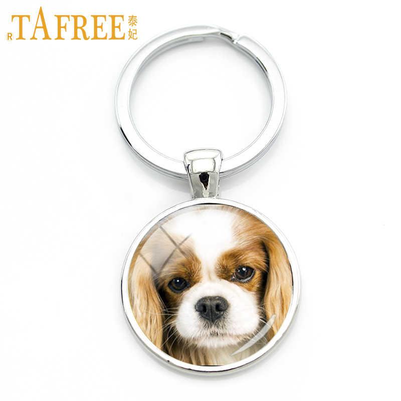 TAFREE Lông Chó Kính Cabochon Móc chìa khóa Thông Minh bệnh nhân và thận thiện với Pháp Bulldog móc chìa khóa nam nữ trang sức DG12