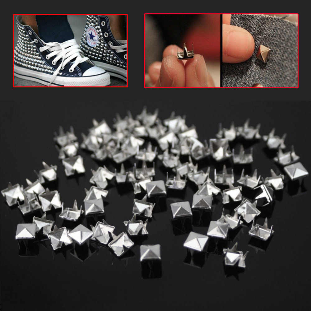 200pcs/Lot 7mm Silver Pyramid Studs Nailheads Rivets Spots Spike for Punk Rock Leathercraft Clothes Belt Bag Shoes Decoration