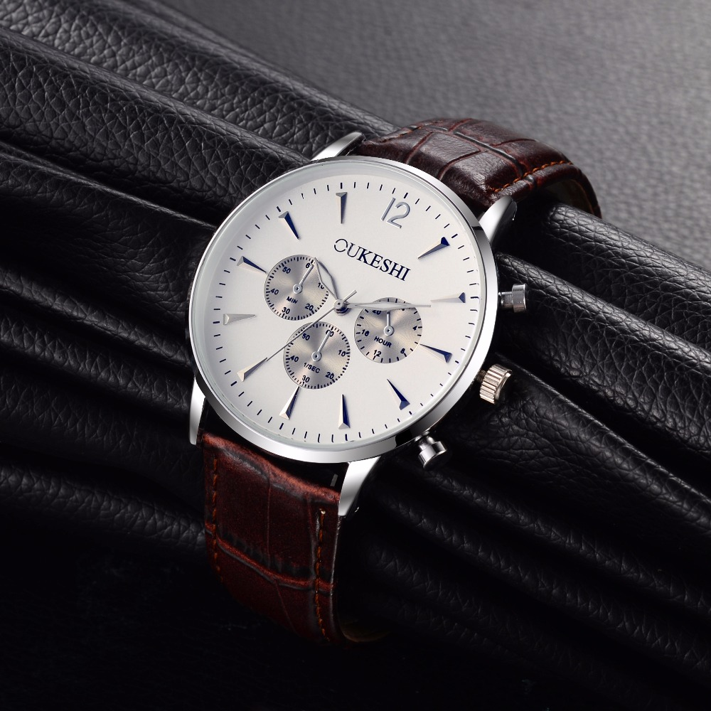 OUKESHI New Fashion Watch Men Elegant Leather Strap Simulation Three Eyes Dial Casual Business Quartz Watch
