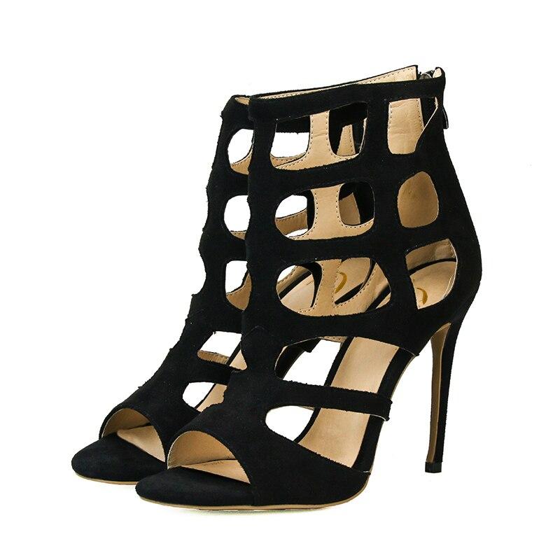 Originele Bedoeling New Cool Vrouwen Mode Sandalen Dunne Hakken Hoogwaardige Blauw Zwart Rood Grijs Schoenen Vrouw Plus AMERIKAANSE Maat 4  10.5-in Hoge Hakken van Schoenen op  Groep 3