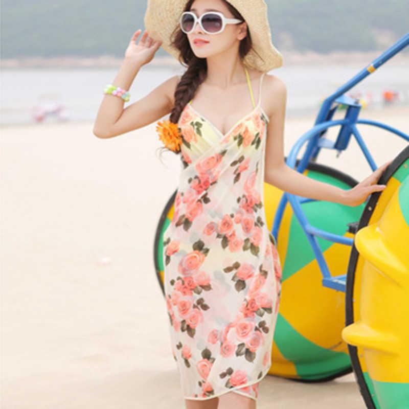 Vestido de verano bikinis para protección solar Toalla de playa vestido de pañuelo ropa de playa vestido Spaghetti Strapless mujeres Vestido Mujer vacaciones desgaste