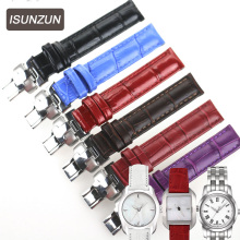 ISUNZUN Top Brand Ladies 14mm Genuine Leather Watch Straps for Tissot 1853 T02 Wave series T023 T028 Ladies Leather Watchbands все цены