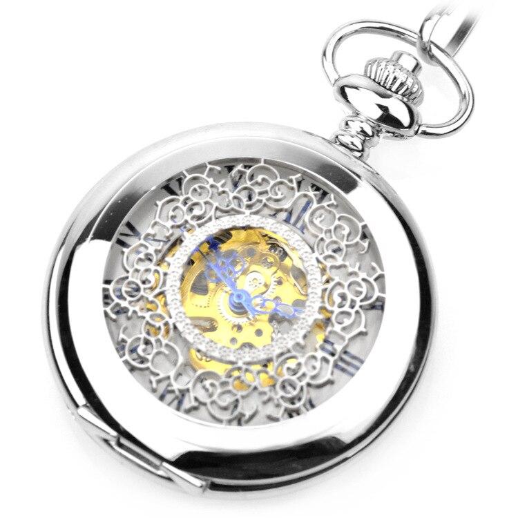 Relógio de Bolso Relógios de Bolso Prata Steampunk Esqueleto Mecânico Vento Bolso & Fob Feminino Pingente Mão