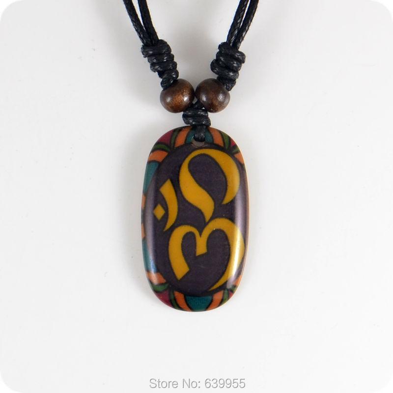 Aum Om Ohm Hindu Buddhist Hinduism Yoga India Resin Pendant Necklace Amulet Lucky Gift Tribal Fashion Jewelry