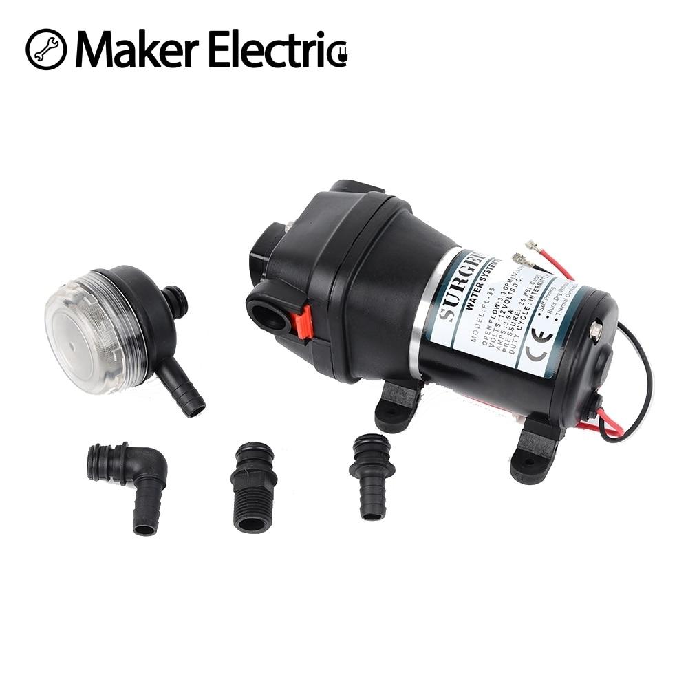 12V 24V 120W 35PSI DC Micro Diaphragm Pump Irrigation Motorhome RV Car Water Supply Booster Water Pump FL 34 FL 35