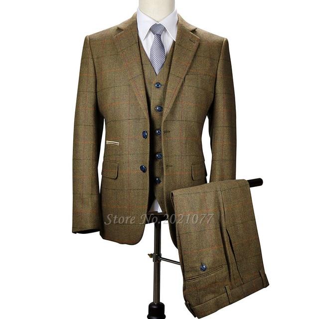 Aliexpress.com : Buy 2017 Vintage Prom Mens Suit 3 Piece Wool ...