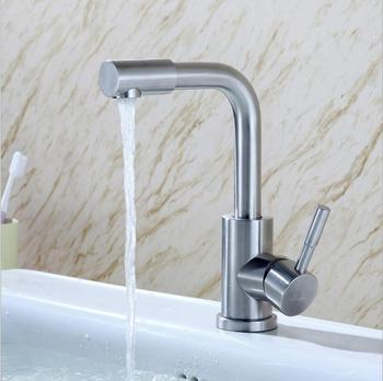 kitchen  High-quality 304 stainless steel brushed folding basin faucet 360 degree rotating vegetable bowl faucet hot&cold tap