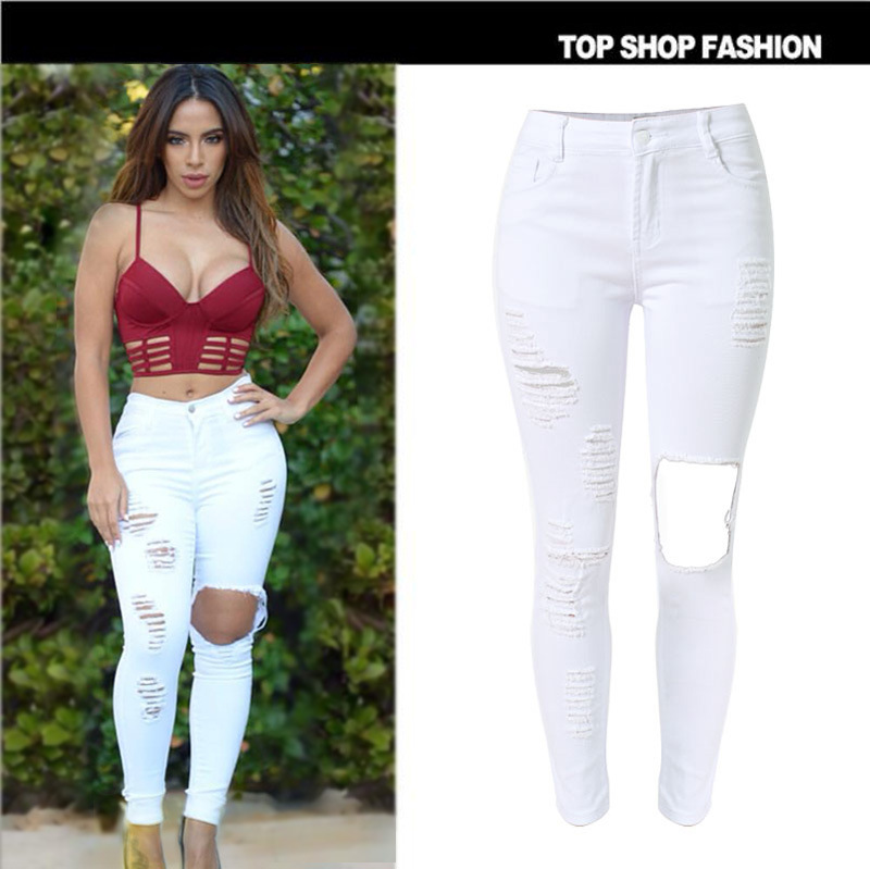 2016 Brand New Low Waist White Jeans Women Fashion American Apparel Skinny Jeans for Women High