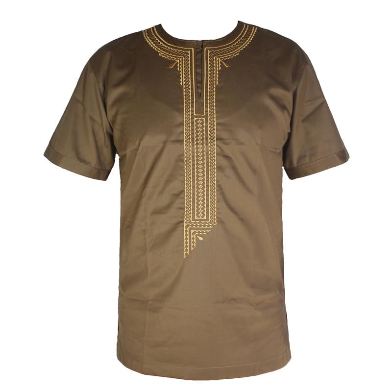 Africa Dashiki Clothes Men`s Ethnic Bazin Embroidery Short Kaftan African Wedding Attire Tunic Tops