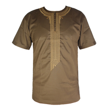 Africa Dashiki Clothes Men`s Ethnic Bazin Embroidery Short Kaftan African Wedding Attire Tunic Tops