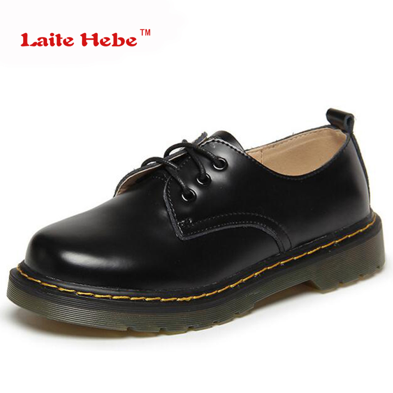 Laite Hebe 2017 New Women Leather Retro Shoes Autumn Spring Fashion Lace Up Casual Shoes Brand Ladies Low Heels Shoes Big Size 2016 spring summer new old leather lace round japanese casual shoes retro fashion leather shoes
