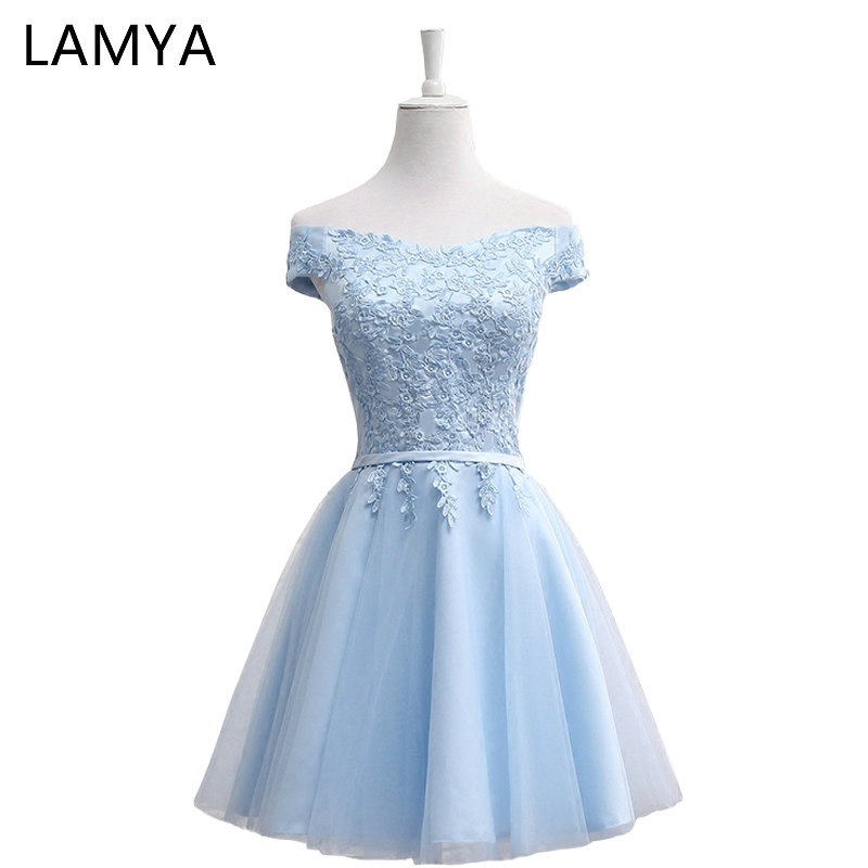 LAMYA Short Chiffion A Line   Prom     Dresses   2018 Boat Neck Lace Evening Party   Dress   Cheap Elegant Special Occasion Gowns