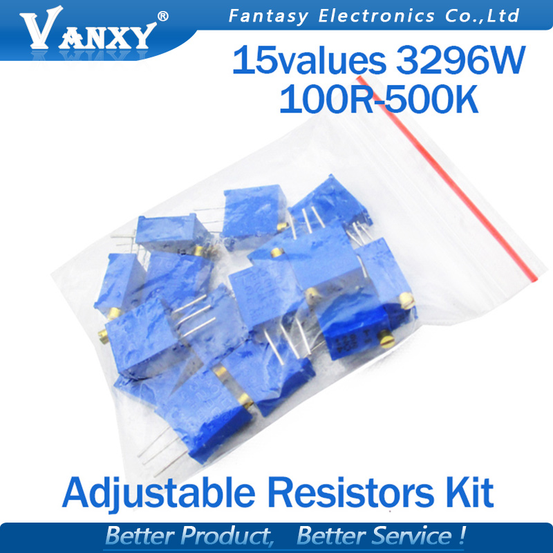 15valuesX1pcs=15pcs 100ohm-2Mohm 0.5w 3296 3296w Variable Resistors MultiTurn Trimmer Adjustable Precision Potentiometer Kit