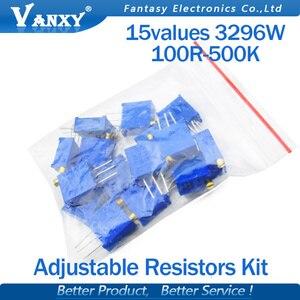 15valuesX1pcs=15pcs 100ohm-2Mohm 0.5w 3296 3296w Variable Resistors MultiTurn trimmer adjustable precision Potentiometer kit(China)