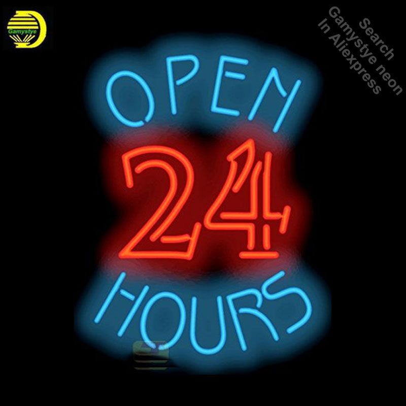 Neon Signs for Open 24 Hours Handcrafted Business Neon Bulbs sign Glass Tube Decorate Store Wall Wholesale Signs dropshippingNeon Signs for Open 24 Hours Handcrafted Business Neon Bulbs sign Glass Tube Decorate Store Wall Wholesale Signs dropshipping