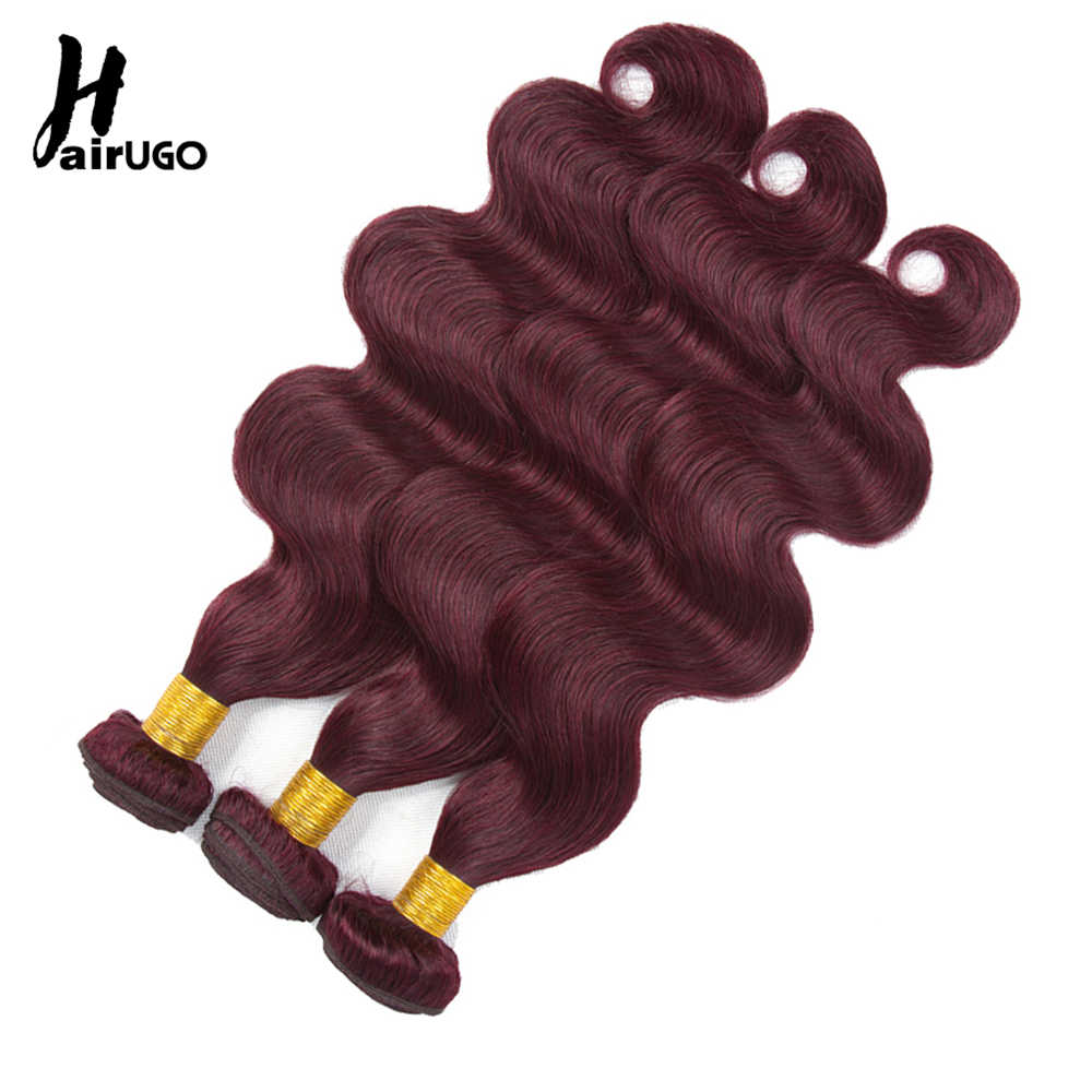 HairUGo Raw Indian Hair Body Wave Bundles With Closure 99J Human Hair Bundles Can Buy With Closure Non Remy Hair Extension