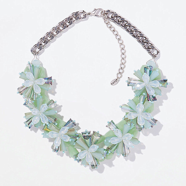 Fashion choker crystal flower Necklaces & Pendants statement chunky glass necklace women brand necklace vintage jewelry 2014 new