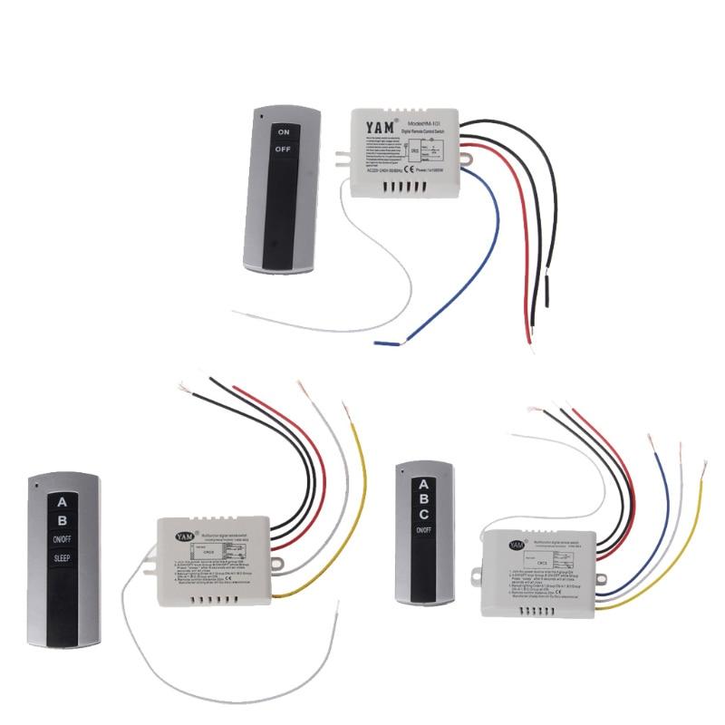 Беспроводной 1-канальный 2-канальный 3-канальный светильник вкл./выкл., пульт дистанционного управления, приемник, передатчик, Прямая поставк...