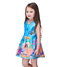 Blue European Fashion Casual Girls Dress For Party Summer Style Flowers Print Kids Dresses Girl Clothes Children Clothing
