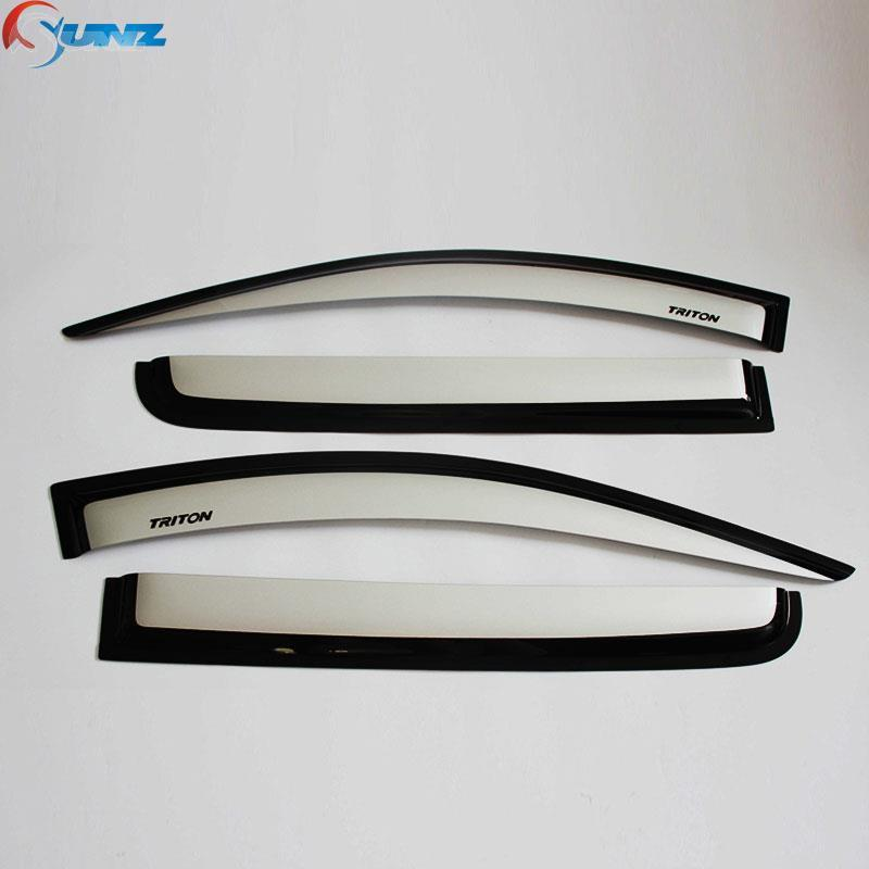 ФОТО 2015-2017 Car Wind Deflectors For Mitsubishi L200 Pickup Silver Car Window Deflectors Guard For Mitsubishi L200 Door Visor
