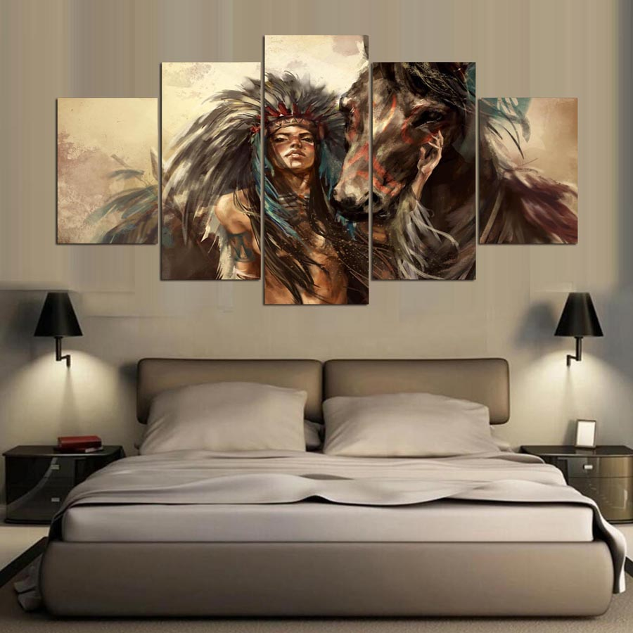 5-panel-hd-Native-American-girl-and-horse-Art-print-canvas-art-wall-framed-paintings-for (1)