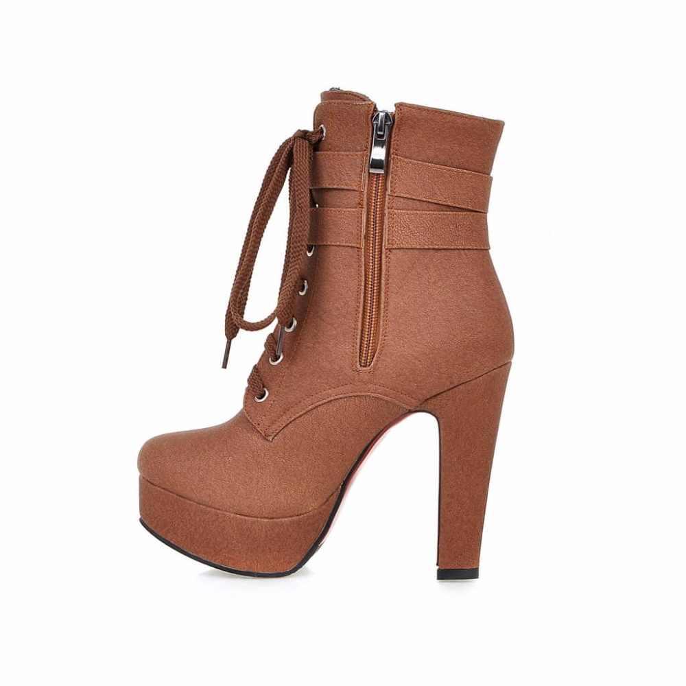 Kadınlar Kış Platformu Kare Yüksek Topuk yarım çizmeler Moda Lace Up Toka Yuvarlak Ayak Ayakkabı Kadın Kahverengi Bej Sarı Siyah