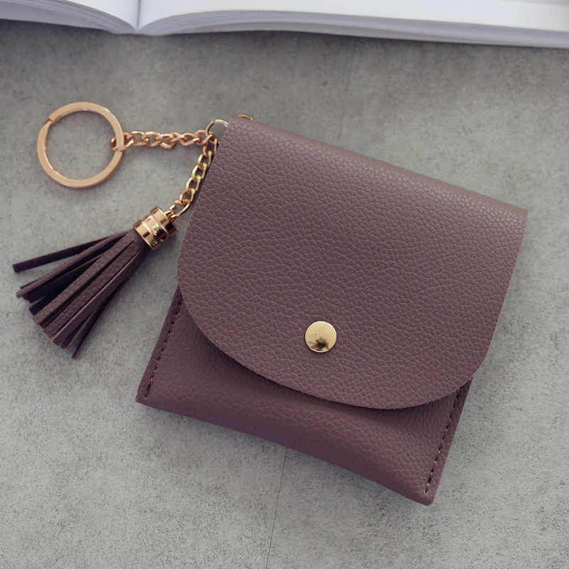 Moda curta carteira feminina carteira de couro bolsa de moedas pu mini carteiras femininas casual id titular do cartão sacos senhoras embreagem borla saco